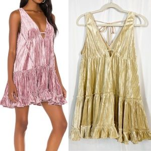 Free People Pleated Plush Swing Dress: Prosecco